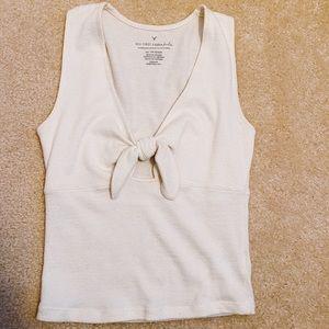 AE white keyhole tied shirt